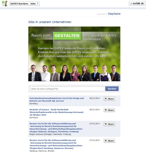 Screenshot DATEV Facebook Karriere Job-App von Stepstone