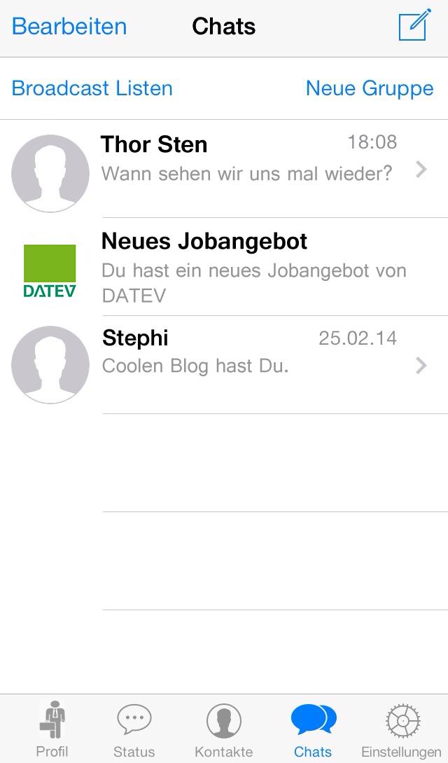 Jobangebot in der Whatsapp Chat-Übersicht