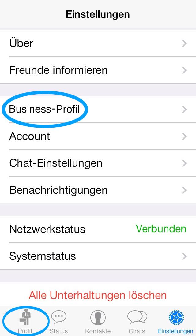 Whatsapp Business Profil Menü