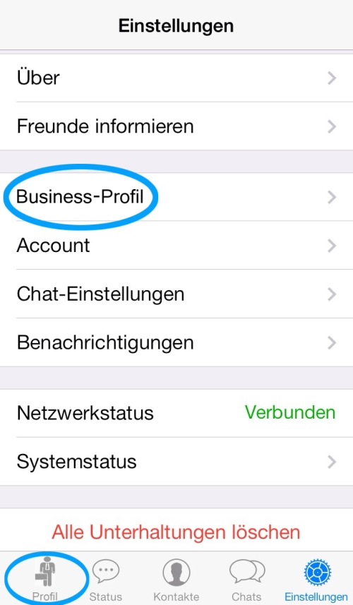 Whatsapp Business Profil Menü