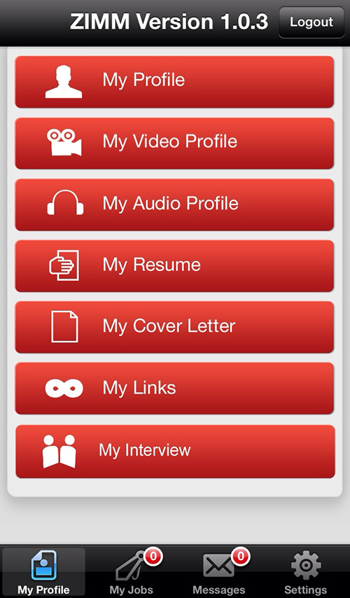 Screenshot iPhone-App ZIMM