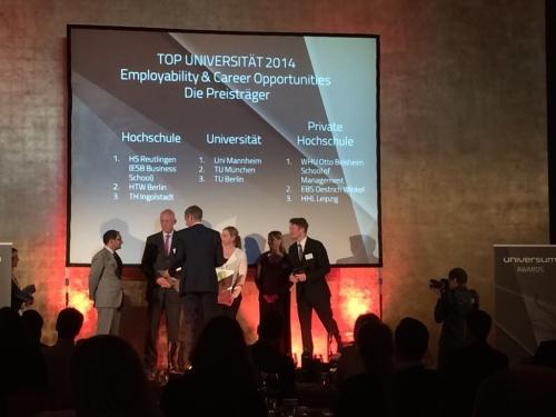 Die Preisträger des Universum Awards 2014 im Bereich Top Universität