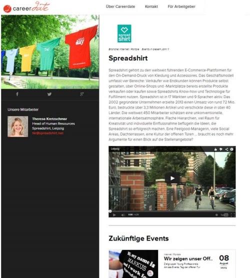Unternehmensprofil auf der Careerdate-Seite mit Videointegration