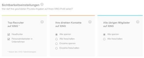 Erweiterte Datenschutz Einstellungen Sichtbarkeit XING Profildaten Premium