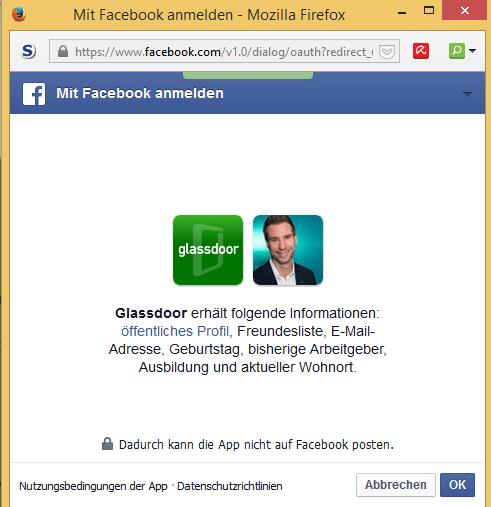 Screenshot: Datenzugriff auf Facebook-Profil