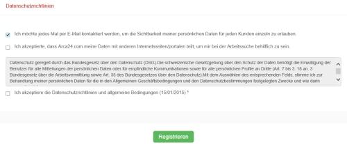 Screenshot Datenschutzerklärung arca24