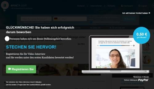 "Screenshot: Bewerbung via Glassdoor ""erfolgreich""?"