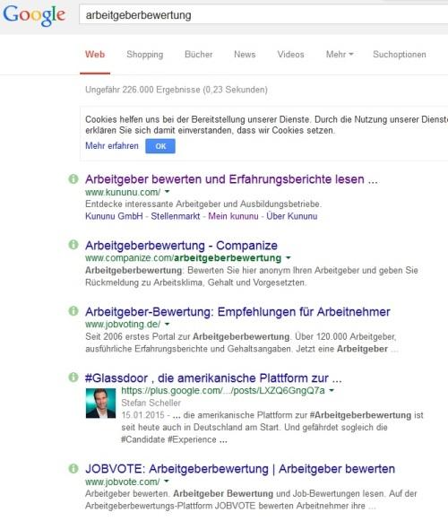 Trefferliste Google bei Eingabe Arbeitgeberbewertung