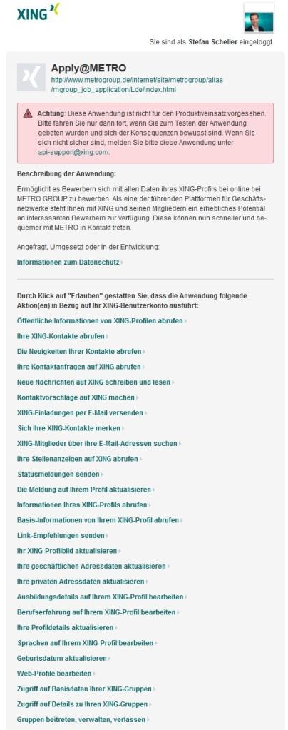 One-Click-Bewerbung bei METRO