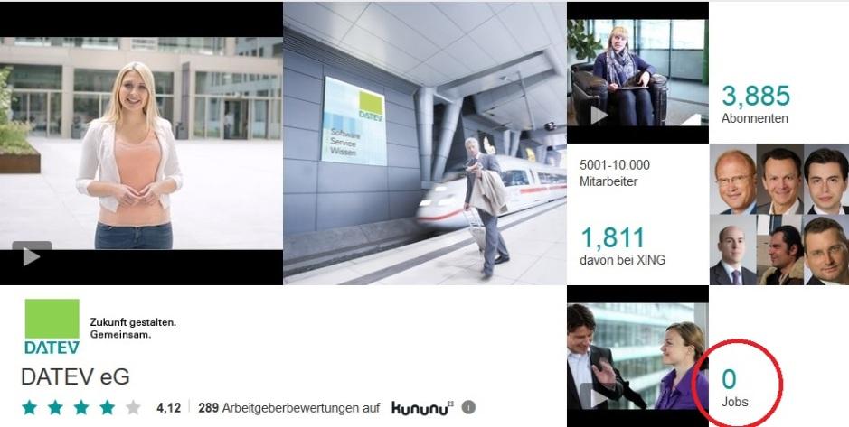 schlechte Einbindung Jobbörse.com in Employer Branding Profili